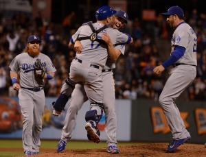 Dodgers clinch their 3rd straight NL West title on Clayton Kershaw's 1 hit shutout. (Source: Scott Tucker, SFBay)